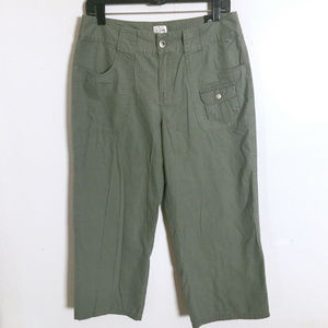 Fashion Bug Casual Capri Pants Olive Sage 10